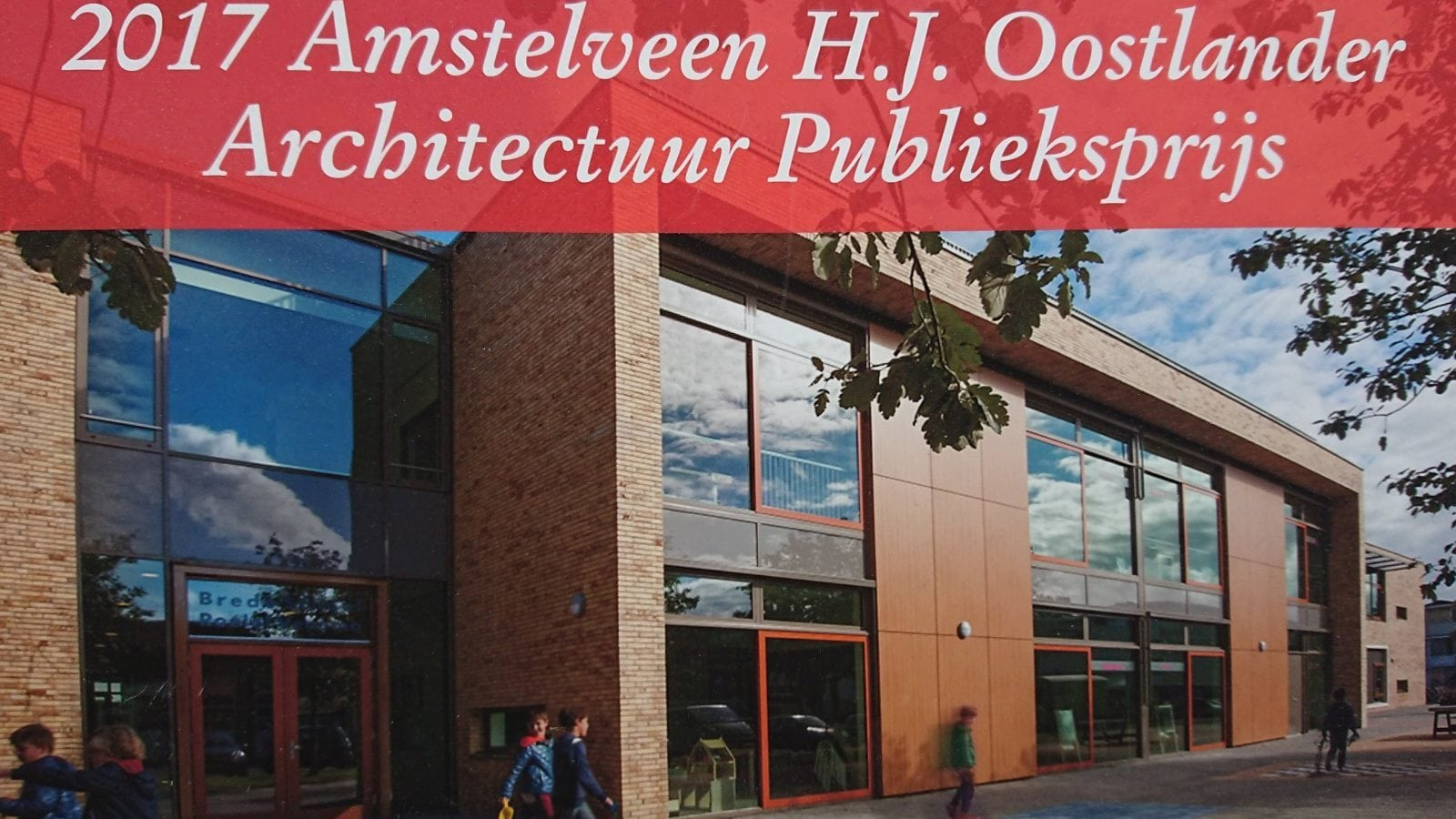 Oorkonde van de architectuurprijs Amstelveen voor Cita architecten voor het ontwerp van de Brede School Roelof Venema